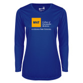 Ladies Syntrel Performance Royal Longsleeve Shirt-College of Osteopathic Medicine at Arkansas