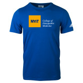 Adidas Royal Logo T Shirt-NYIT College of Osteopathic Medicine - Horizontal
