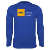 Performance Royal Longsleeve Shirt-NYIT College of Osteopathic Medicine - Horizontal