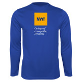 Performance Royal Longsleeve Shirt-NYIT College of Osteopathic Medicine - Vertical