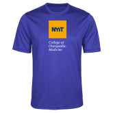 Performance Royal Heather Contender Tee-NYIT College of Osteopathic Medicine - Vertical
