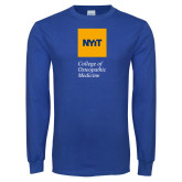 Royal Long Sleeve T Shirt-NYIT College of Osteopathic Medicine - Vertical
