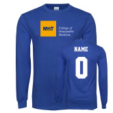 Royal Long Sleeve T Shirt-NYIT College of Osteopathic Medicine - Horizontal, Custom tee w/ name and #