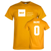 Gold T Shirt-NYIT College of Osteopathic Medicine - Horizontal, Custom tee w/ name and #