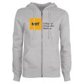ENZA Ladies Grey Fleece Full Zip Hoodie-NYIT College of Osteopathic Medicine - Horizontal