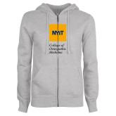 ENZA Ladies Grey Fleece Full Zip Hoodie-NYIT College of Osteopathic Medicine - Vertical