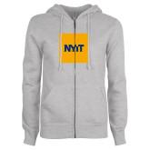 ENZA Ladies Grey Fleece Full Zip Hoodie-NYIT Logo