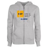 ENZA Ladies Grey Fleece Full Zip Hoodie-Aumni