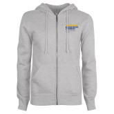 ENZA Ladies Grey Fleece Full Zip Hoodie-NYIT College of Osteopathic Medicine - Horiontal