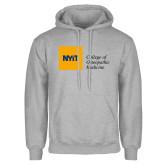 Grey Fleece Hoodie-NYIT College of Osteopathic Medicine - Horizontal