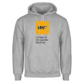Grey Fleece Hoodie-NYIT College of Osteopathic Medicine - Vertical