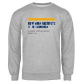 Grey Fleece Crew-NYIT College of Osteopathic Medicine - Horiontal