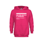Youth Raspberry Fleece Hoodie-NYIT College of Osteopathic Medicine - Horiontal