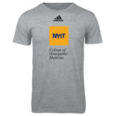 Adidas Sport Grey Logo T Shirt-NYIT College of Osteopathic Medicine - Vertical
