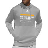 Adidas Grey Team Issue Hoodie-NYIT College of Osteopathic Medicine - Horiontal