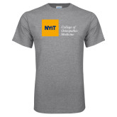 Grey T Shirt-NYIT College of Osteopathic Medicine - Horizontal