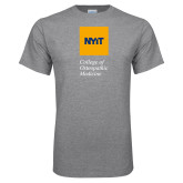 Grey T Shirt-NYIT College of Osteopathic Medicine - Vertical