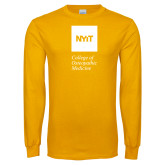 Gold Long Sleeve T Shirt-NYIT College of Osteopathic Medicine - Vertical