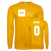Gold Long Sleeve T Shirt-NYIT College of Osteopathic Medicine - Horizontal, Custom tee w/ name and #