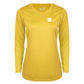 Ladies Syntrel Performance Gold Longsleeve Shirt-NYIT College of Osteopathic Medicine - Horizontal