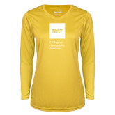 Ladies Syntrel Performance Gold Longsleeve Shirt-NYIT College of Osteopathic Medicine - Vertical