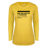Ladies Syntrel Performance Gold Longsleeve Shirt-NYIT College of Osteopathic Medicine - Horiontal