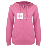 ENZA Ladies Hot Pink V Notch Raw Edge Fleece Hoodie-NYIT College of Osteopathic Medicine - Horizontal