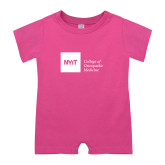 Bubble Gum Pink Infant Romper-NYIT College of Osteopathic Medicine - Horizontal