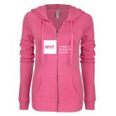 ENZA Ladies Hot Pink Light Weight Fleece Full Zip Hoodie-NYIT College of Osteopathic Medicine - Horizontal