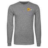 Grey Long Sleeve T Shirt-NYIT College of Osteopathic Medicine - Horizontal