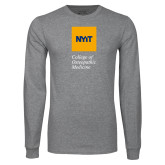Grey Long Sleeve T Shirt-NYIT College of Osteopathic Medicine - Vertical