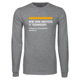 Grey Long Sleeve T Shirt-NYIT College of Osteopathic Medicine - Horiontal