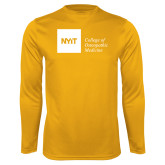 Performance Gold Longsleeve Shirt-NYIT College of Osteopathic Medicine - Horizontal