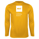 Performance Gold Longsleeve Shirt-NYIT College of Osteopathic Medicine - Vertical
