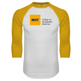 White/Gold Raglan Baseball T Shirt-NYIT College of Osteopathic Medicine - Horizontal