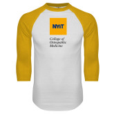 White/Gold Raglan Baseball T Shirt-NYIT College of Osteopathic Medicine - Vertical