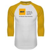 White/Gold Raglan Baseball T Shirt-College of Osteopathic Medicine at Arkansas