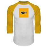 White/Gold Raglan Baseball T Shirt-NYIT Logo