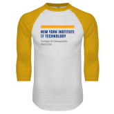 White/Gold Raglan Baseball T Shirt-NYIT College of Osteopathic Medicine - Horiontal