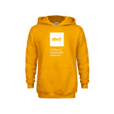 Youth Gold Fleece Hoodie-NYIT College of Osteopathic Medicine - Vertical