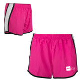 Ladies Fuchsia/White Team Short-NYIT College of Osteopathic Medicine - Horizontal