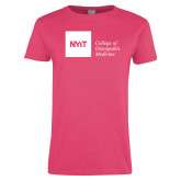 Ladies Fuchsia T Shirt-NYIT College of Osteopathic Medicine - Horizontal