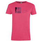Ladies Fuchsia T Shirt-NYIT College of Osteopathic Medicine - Horizontal Foil