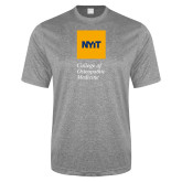 Performance Grey Heather Contender Tee-NYIT College of Osteopathic Medicine - Vertical