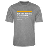 Performance Grey Heather Contender Tee-NYIT College of Osteopathic Medicine - Horiontal