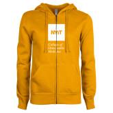 ENZA Ladies Gold Fleece Full Zip Hoodie-NYIT College of Osteopathic Medicine - Vertical