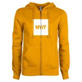 ENZA Ladies Gold Fleece Full Zip Hoodie-NYIT Logo