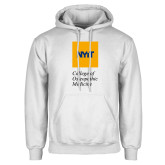 White Fleece Hoodie-NYIT College of Osteopathic Medicine - Vertical