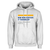 White Fleece Hoodie-NYIT College of Osteopathic Medicine - Horiontal