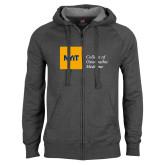 Charcoal Fleece Full Zip Hoodie-NYIT College of Osteopathic Medicine - Horizontal